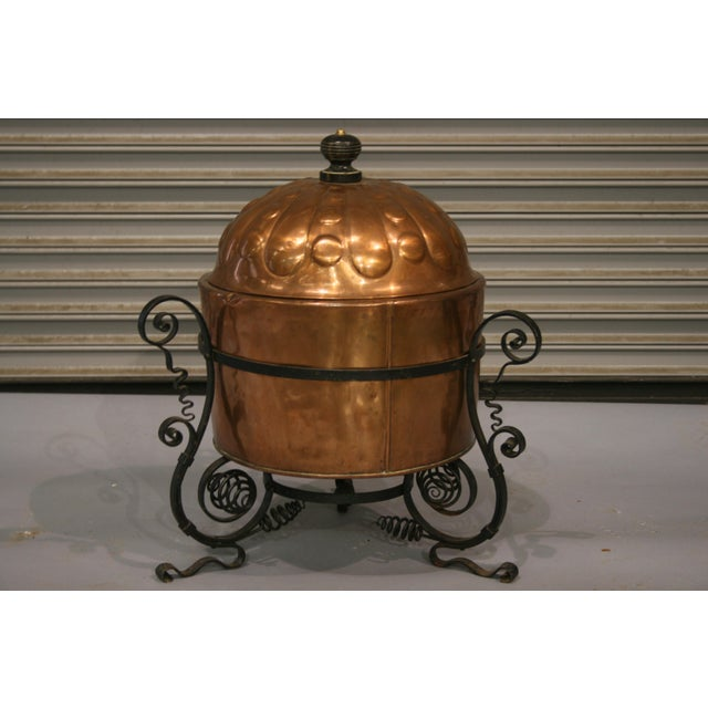 19th Century French Antique Copper Cauldron With Iron Stand For Sale - Image 5 of 5