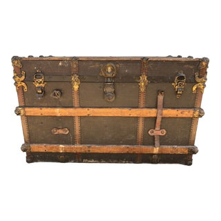 1910s Industrial Large Metal and Wood Steam Trunk For Sale
