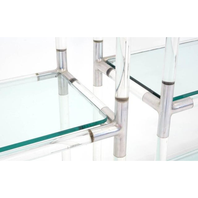 Modern Pair Charles Hollis Jones Style Lucite and Chrome Shelves or Etagere For Sale - Image 3 of 7