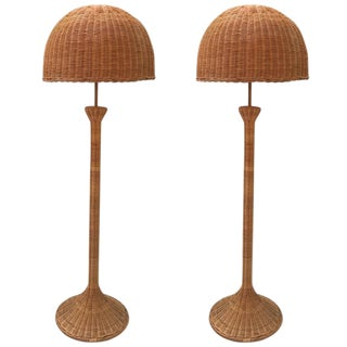 Mid-Century Natural Wicker Floor Lamps - A Pair