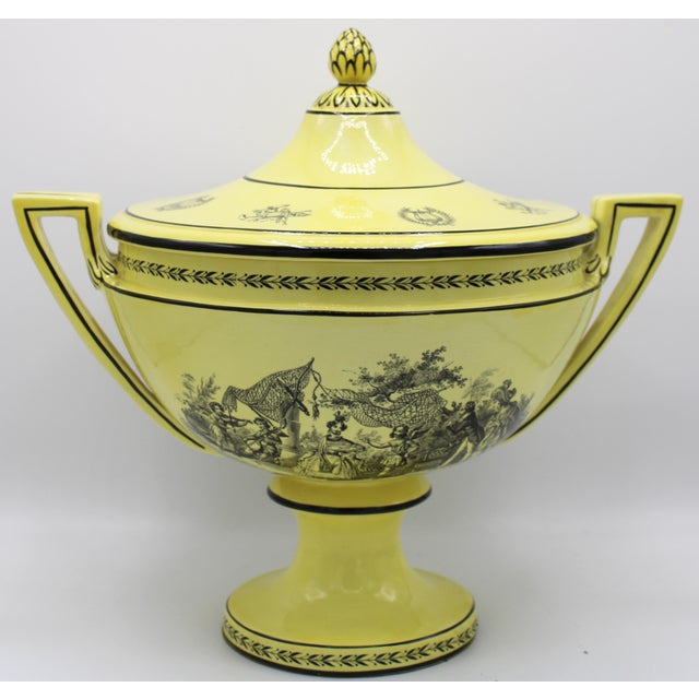 Large Mid 20th Century Italian Mottahedeh Yellow Handled Urn With Artichoke Lid For Sale - Image 13 of 13