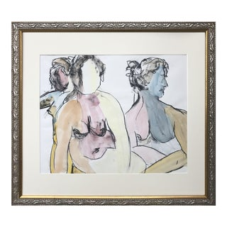 Large Figural Abstract Watercolor Painting of Female Nudes For Sale