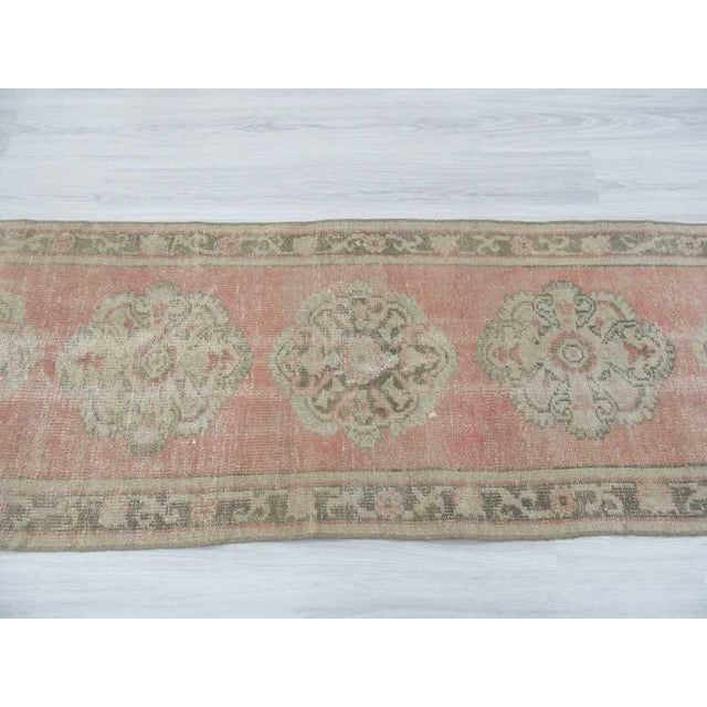Vintage Worn Out Turkish Oushak Runner Rug - 2′5″ × 11′2″ - Image 4 of 6
