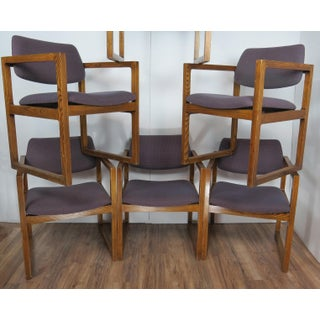 1970's Vintage Edward Axel Roffman Modern Oak Cube Chairs- Set of 6 Preview