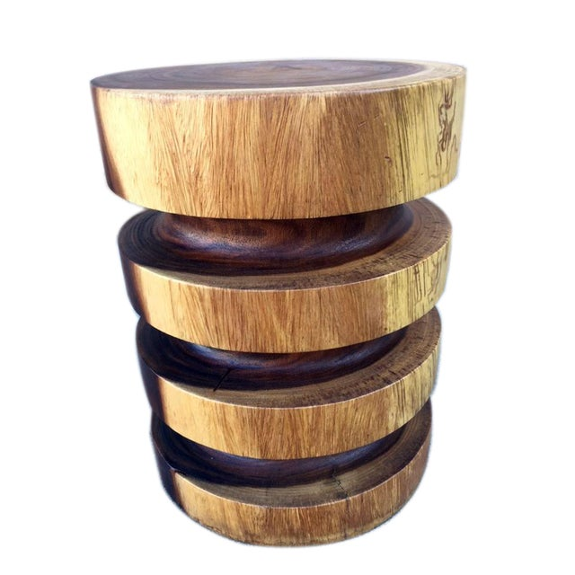 The natural wood three ring end table is a contemporary piece with organic character. It can function as an end table,...