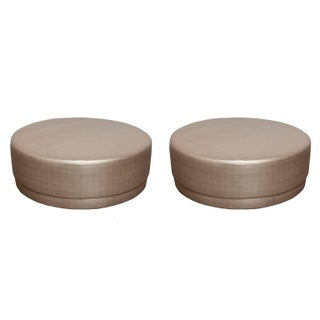Metallic Silver Round Ottomans - A Pair