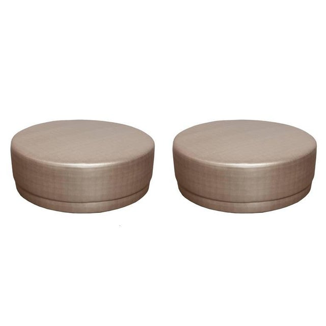 Metallic Silver Round Ottomans - A Pair For Sale