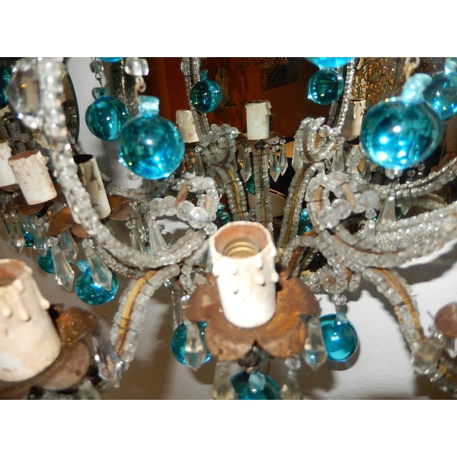 French Micro Beaded Mirror Aqua Blue Murano Drops Sconces For Sale In Los Angeles - Image 6 of 10