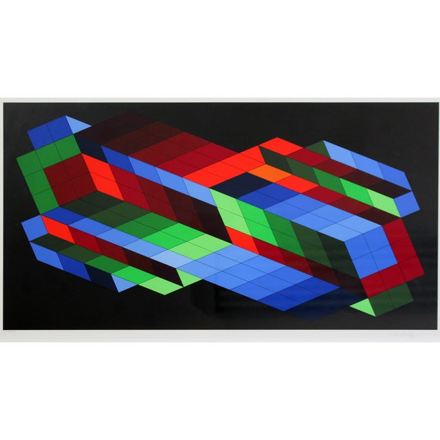 For your consideration is a phenomenal, rare, framed Optical Art limited edition, signed and numbered by Victor Vasarely,...