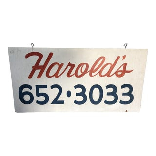 "Vintage Hand Painted ""Harold's"" Trade Sign For Sale"