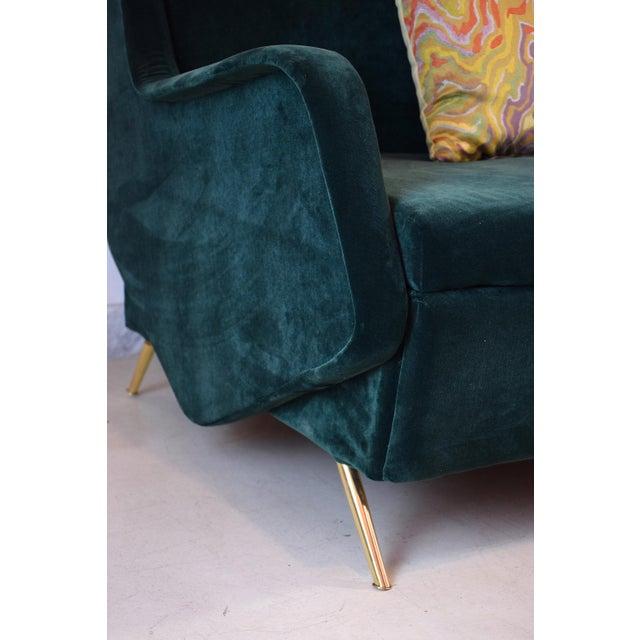Green Italian Vintage Midcentury Sofa, 1950s For Sale - Image 8 of 12