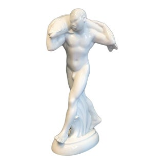"""Early 20th Century Figurative """"Nude with Fish"""" Porcelain Sculpture by Adolf Amberg For Sale"""