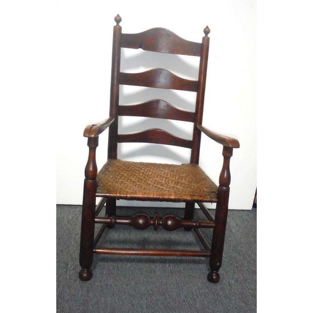 Rare 18th c. Delaware River Valley Ladder Back Side Chair - Image 2 of 8