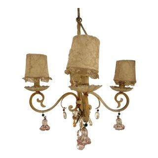 French Unique Iron Four Light Ivory Chandelier