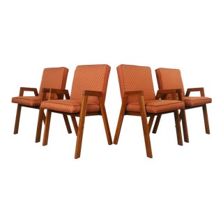 Authentic Mid Century Set of 4 Compass Dining Chairs For Sale