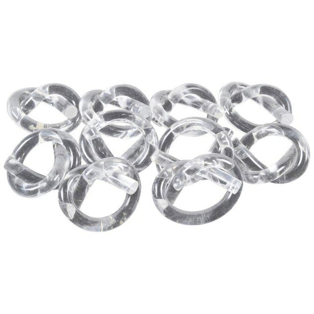 Lucite Ten Dorothy Thorpe Lucite Napkin Rings in Pretzel Shape For Sale - Image 7 of 7