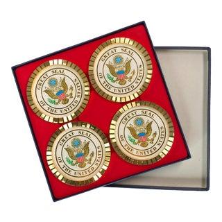1980s Vintage United States Seal Metal Coasters - Set of 4 For Sale