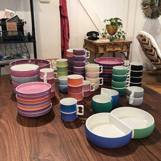 Mid-Century Modern Vintage Block Chromatics Porcelain Dinnerware From Germany - Set of 50 For Sale - Image 3 of 13