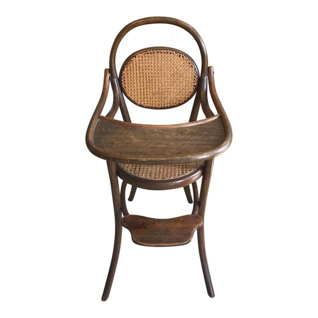 D.G. Fischel & Sons Antique Caned Bentwood High Chair - D.G. Fischel & Sons Antique Caned Bentwood High Chair Chairish