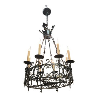 Antique Country French Wrought Iron Chandelier For Sale