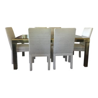 Hollywood Regency Mastercraft Brass and Glass Dining Set - 7 Pieces For Sale