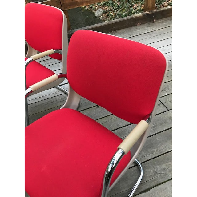 1980s Vintage Chrome and Red Fabric Cantilever Steelcase Arm Chairs- a Pair For Sale - Image 5 of 10