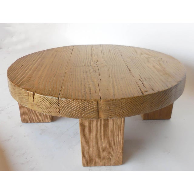 Reclaimed Wood Low Round Coffee Table by Dos Gallos Studio For Sale - Image 10 of 10
