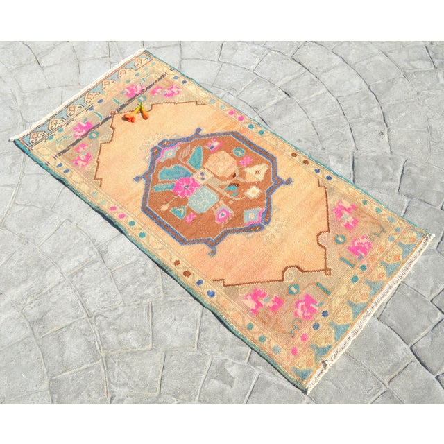 """Shabby Chic Hand Made Mini Rugs Front of Kitchen Sink Rug Bath Mat Distressed Rug 1'10"""" X 3'9"""" For Sale - Image 3 of 6"""