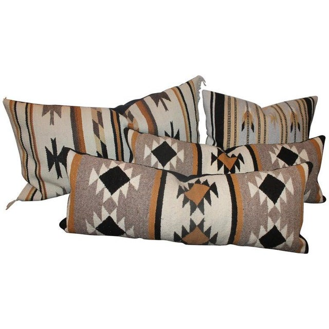 Orange Chinle Navajo Indian Weaving Pillows - Collection of 4 For Sale - Image 8 of 8
