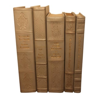 Leather Bound Books - Set of 5 For Sale