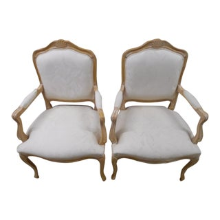 1980s Vintage Wood Shell Back Arm Chairs- A Pair For Sale
