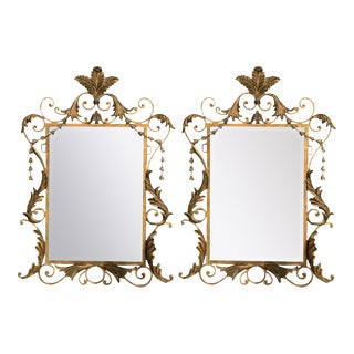 Pair of Italian Parcel-Gilt Painted Wood and Metal Wall or Console Mirrors For Sale