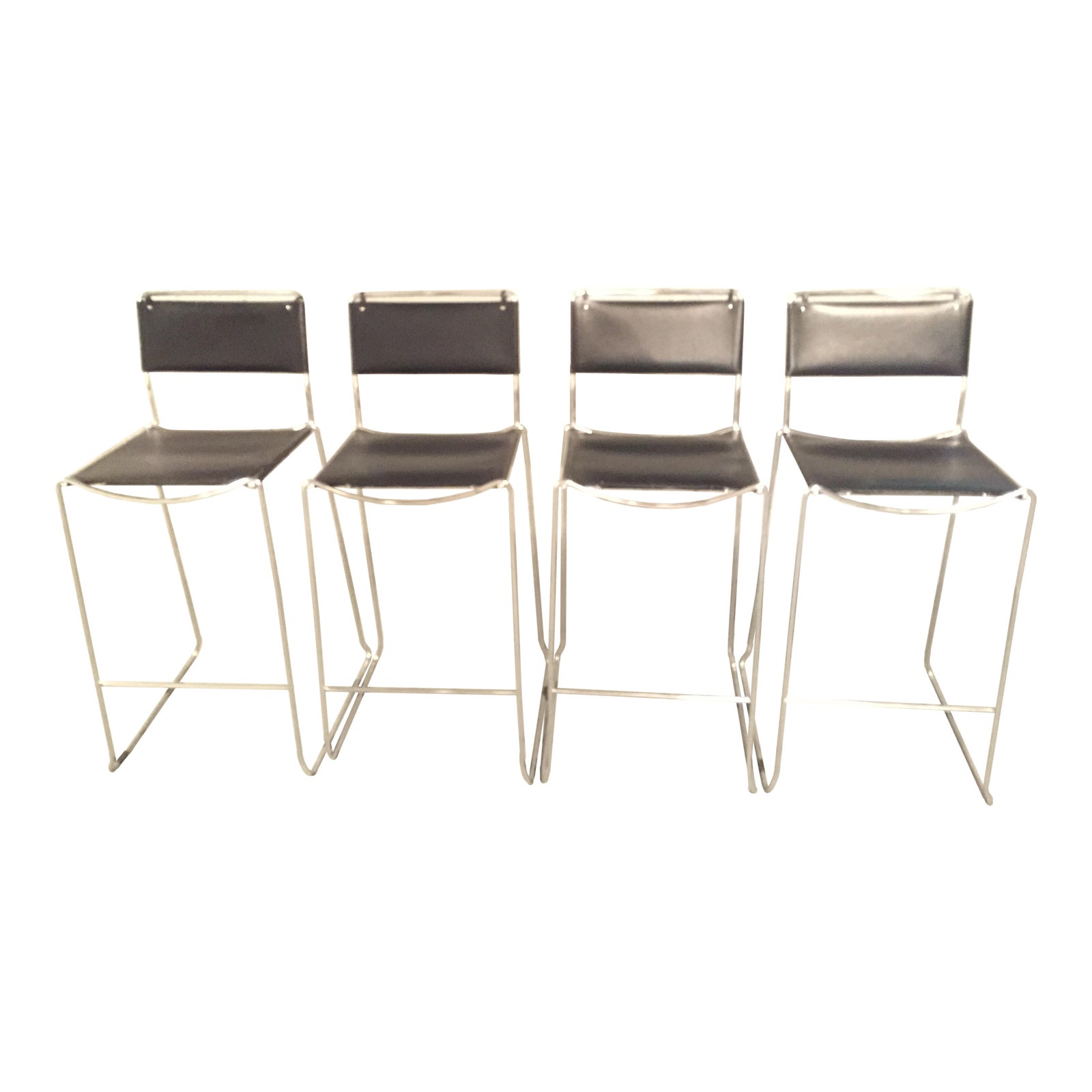 Design Within Reach Italian Leather Chrome Bar Stools  Set