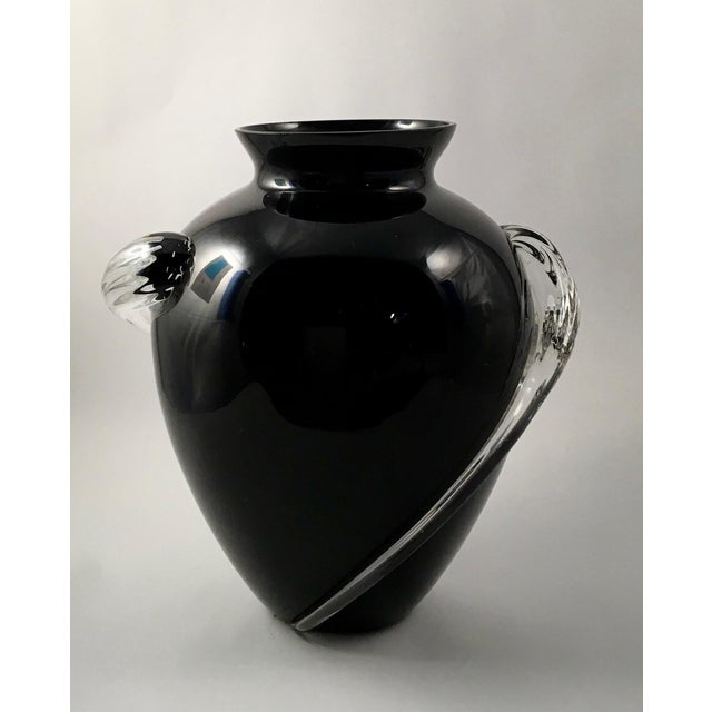 Black Amethyst Glass Vase With Clear Applied Rigaree By Nora Fenton