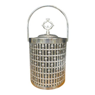 Vintage 1970s Hollywood Regency Silver Faux Bamboo Ice Bucket For Sale