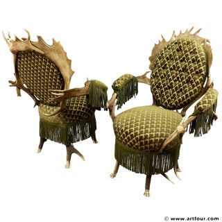 Two Rare Antler Parlor Armchairs, Austria Ca. 1880 For Sale