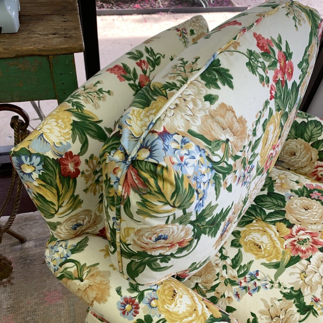 Floral Club Chair - New Upholstery (Vintage Fabric) For Sale - Image 9 of 13