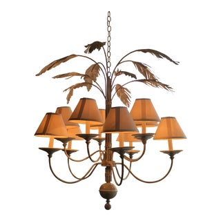 Vintage Palm Tree Frond Leaf Chandelier For Sale