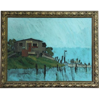 Vintage Mid Century Live Bait Oil Painting on Canvas For Sale
