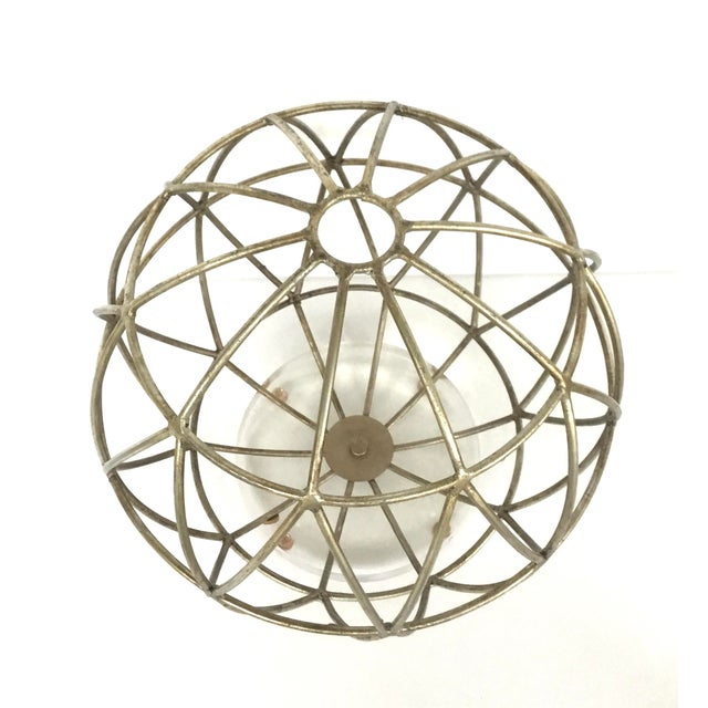 Modern Modern Geometric Silver Finished Metal Sphere Sculpture on Acrylic For Sale - Image 3 of 5