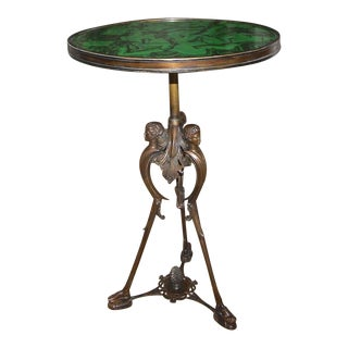 19th Century French Bronze Neoclassic Faux Malachite Side Table For Sale