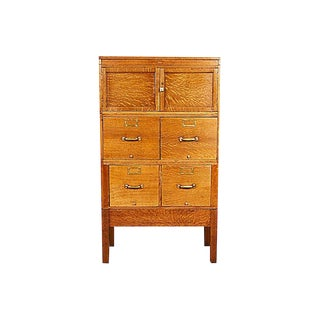 Quarter-Sawn Oak Globe File Cabinet For Sale