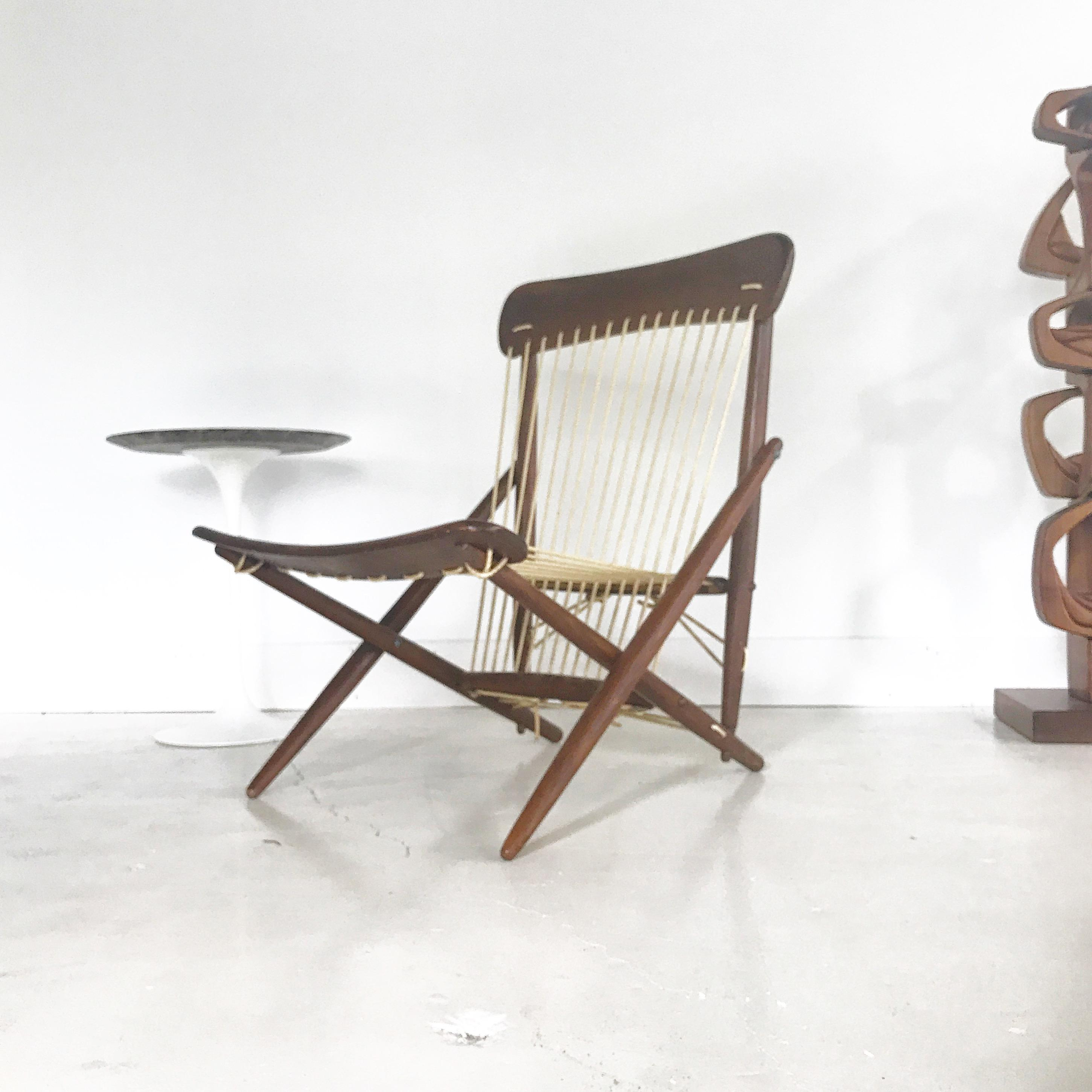 1950s japanese made lounge chair made of wood and rope great vintage condition & 1950s Japanese Maruni Rope and Wood Lounge Chair | Chairish