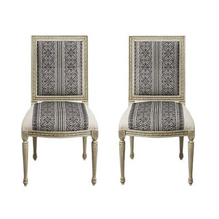 Early 21st Century Schumacher Louis XVI Vogue Living Toledo Noir Side Chairs - a Pair For Sale