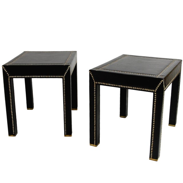Italian Vintage Mid-Century Italian Leather Studded Side Tables - A Pair For Sale - Image 3 of 9