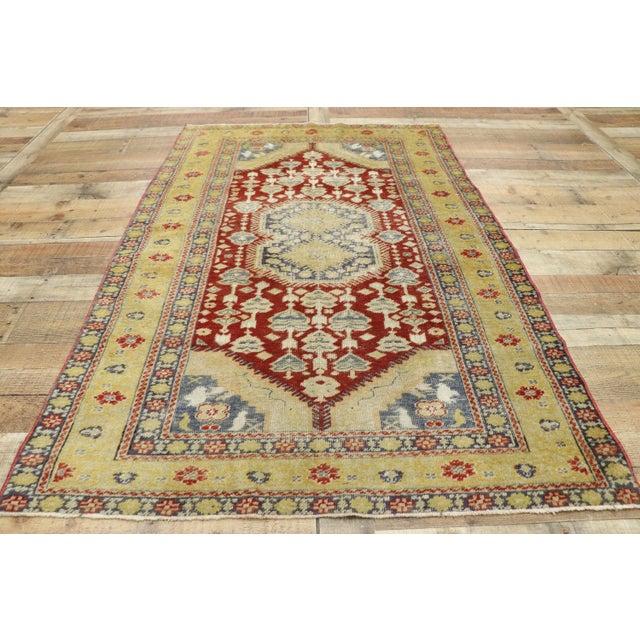 Textile Vintage Turkish Oushak Rug - 3′10″ × 5′11″ For Sale - Image 7 of 10