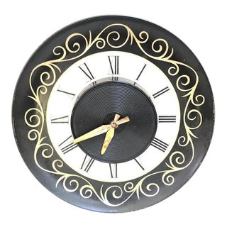 1950s-60s Herold Products Inc. Metal Electric Wall Clock For Sale