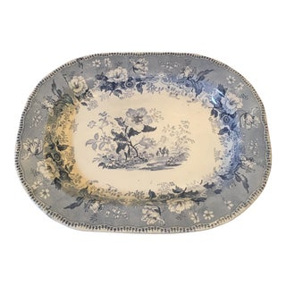 1860 English Blue & White Transferware Platter For Sale