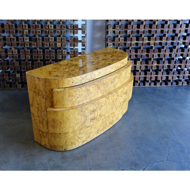 1980s Mid-Century Modern Sculptural Burl Wood Chest For Sale - Image 4 of 11