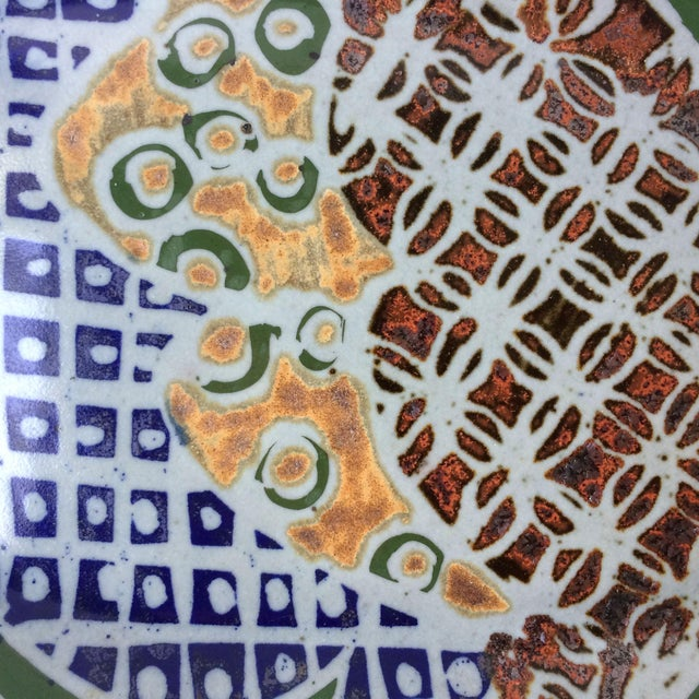 Mid-Century Modern Stoneware Serving Platter Dish With Abstract Geometric Design For Sale - Image 4 of 6